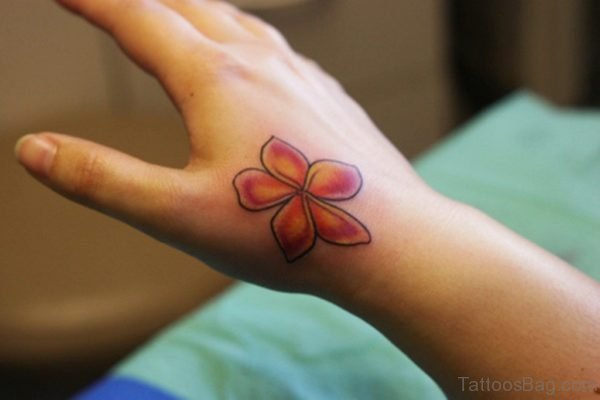 Cool Red Flower Tattoo For Hand