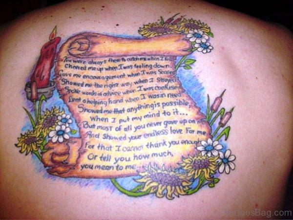 Cool Scroll Tattoo On Back