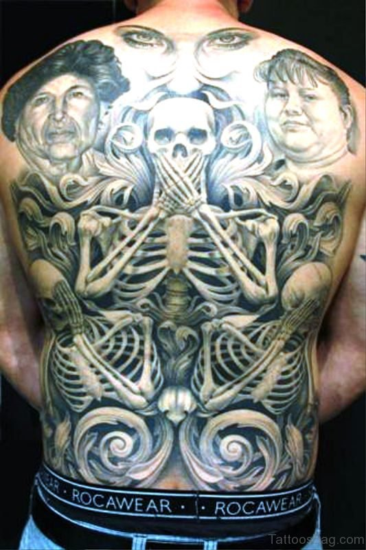 Cool Skeleton Tattoo On Back