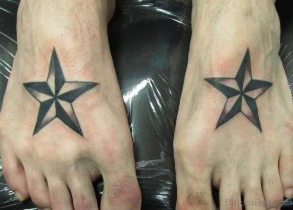 Cool Star Tattoo On Foot