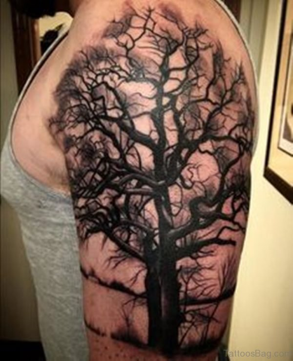 Cool Tree Tattoo On Shoulder