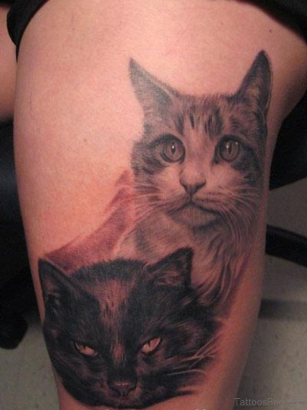 Cool Two Cats Tattoo On Thigh