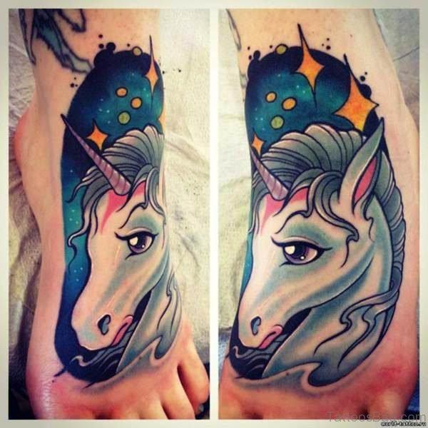 Cool Unicorn Tattoo On Foot