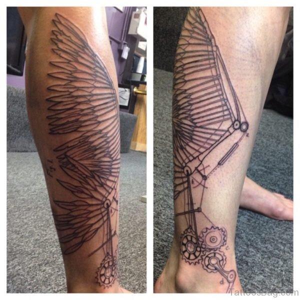 Cool Wing Tattoo On Leg