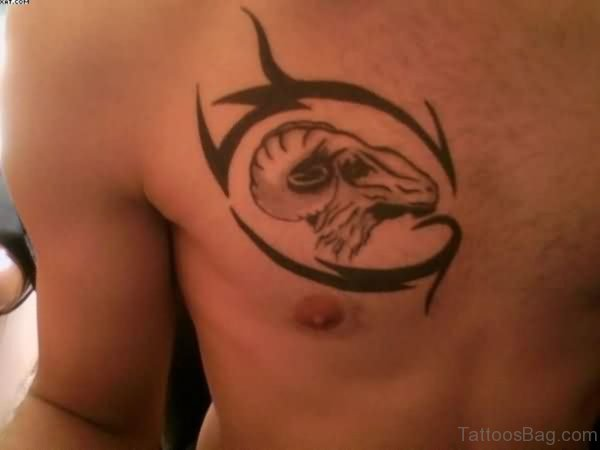 Cool Zodic Tattoo On Chest
