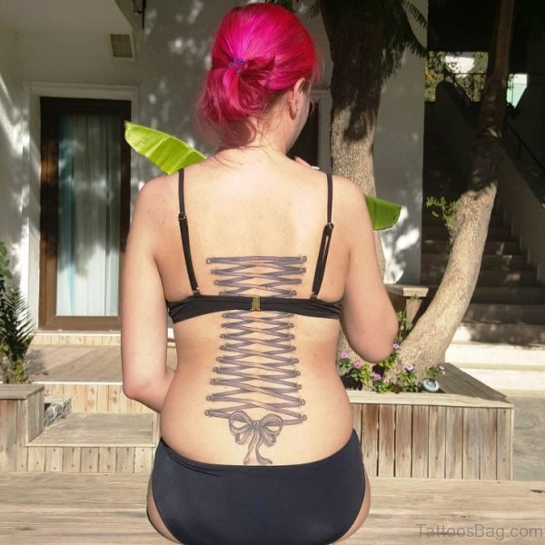 Corset Tattoo On Back For Women