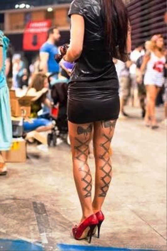 Corset Tattoo On Both Legs