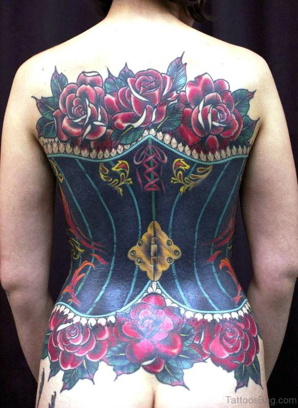 Corset With Roses Tattoo On Full Back