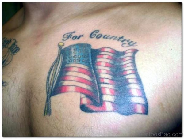 Country Flag Tattoo On Chest