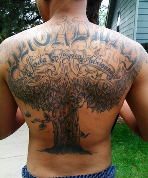 Country Tree Tattoo On Back