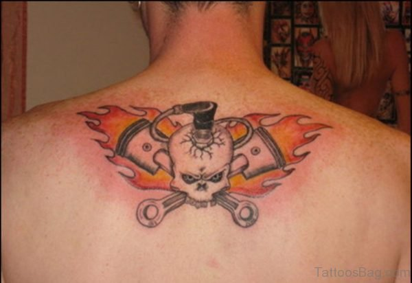 Cowboy Skull Tattoo On Upper Back