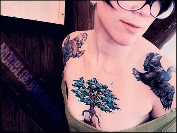 Creative Tree Tattoo On Chest