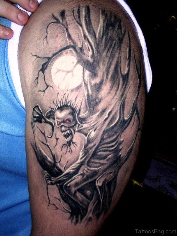 Creepy Evil Tree Tattoo On Shoulder