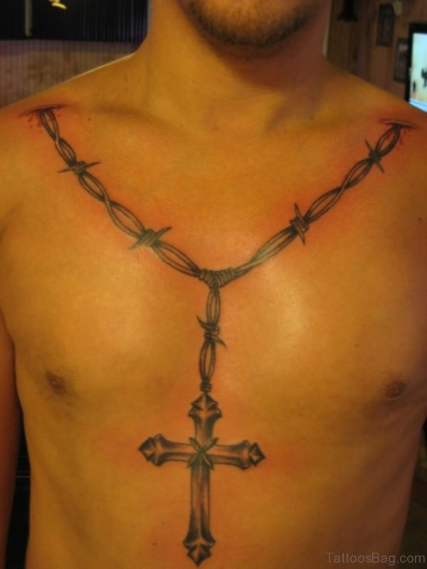 Cross And Barbed Wire Tattoo On Chest