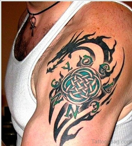 Cross And Dragon Tattoo On Shoulder