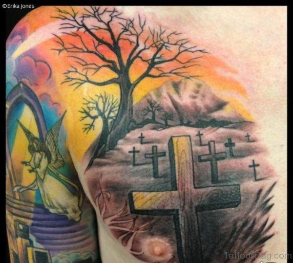 Cross And Tree Tattoo