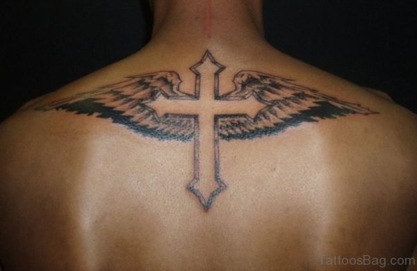 Cross And Wings Tattoo On Back