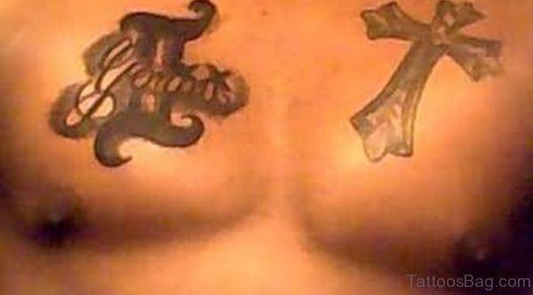 Cross And Zodiac Tattoo
