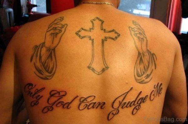 Cross And wording Tattoo