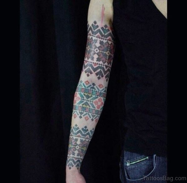 Cross Stitch Tattoo Design On Full Sleeve