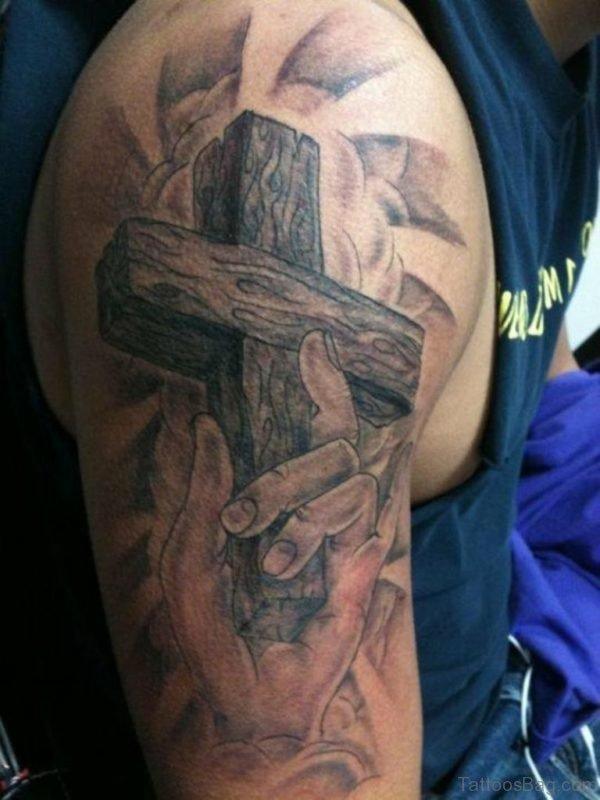 Cross Tattoo Design On Half Sleeve
