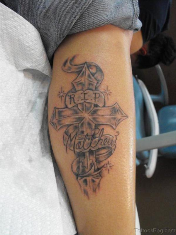 Cross Tattoo Design On Leg