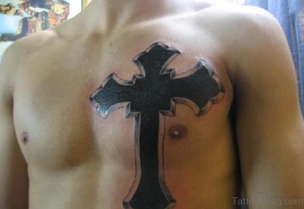 Cross Tattoo On Chest