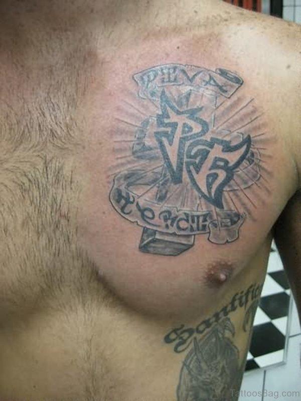 Cross Tattoo On Chest