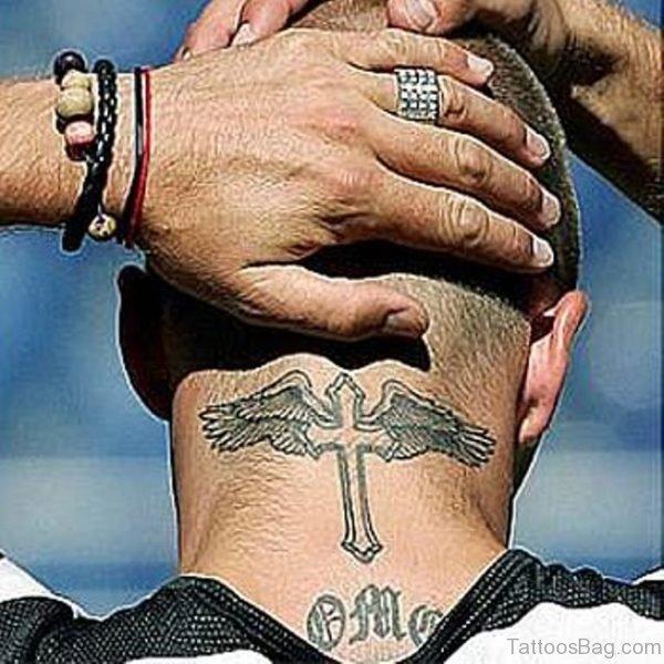 Cross Tattoo On Nape