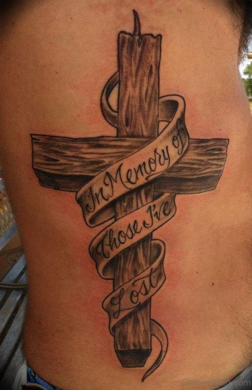 Cross Tattoo On Rib