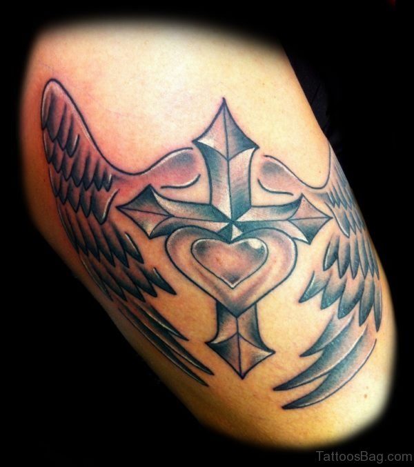 Cross Tattoo On Thigh