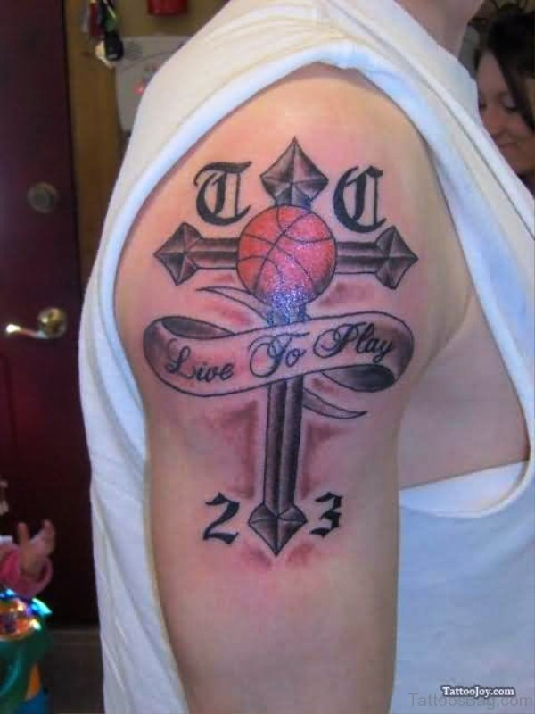 Cross With Banner And Basketball Tattoo