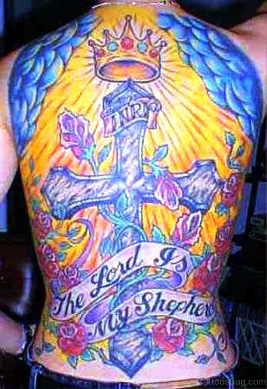 Cross With Crown Tattoo On Back