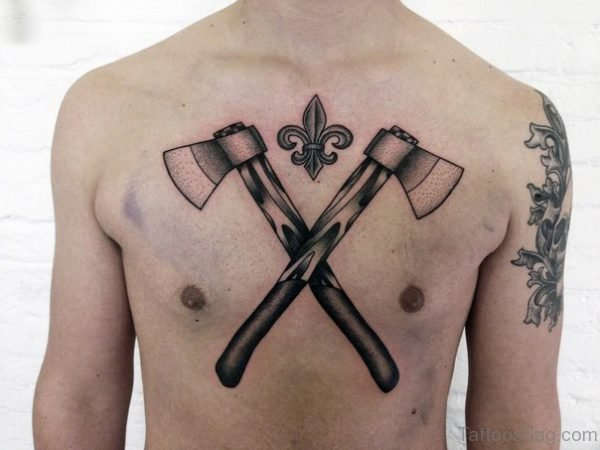 Crossed Axes Tattoo On Chest