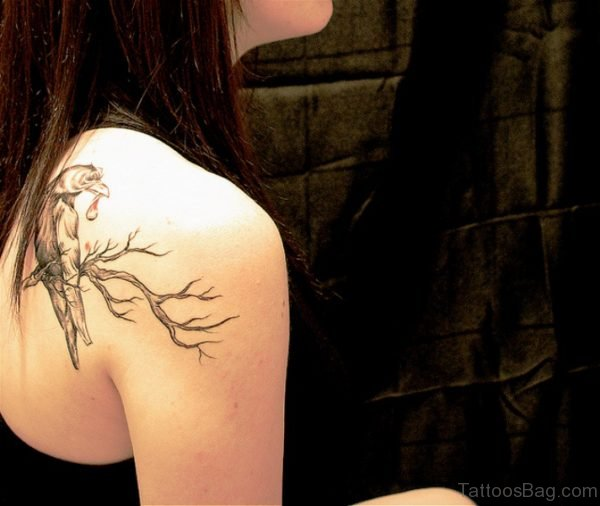 Crow On Tree Tattoo On Back Shoulder