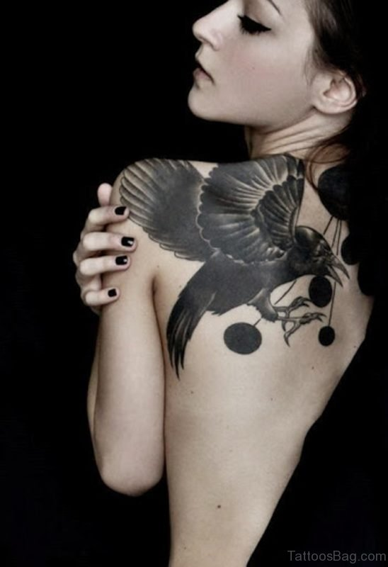 Crow Tattoo On Back 1