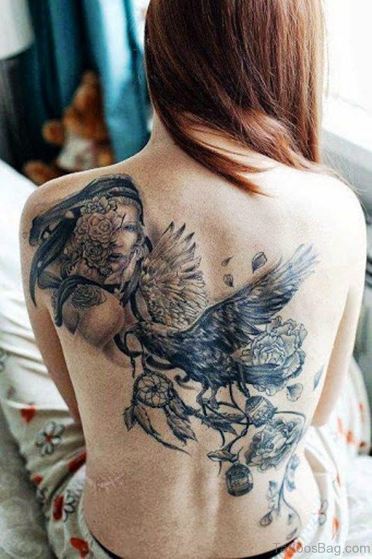 Crow Tattoo On Back