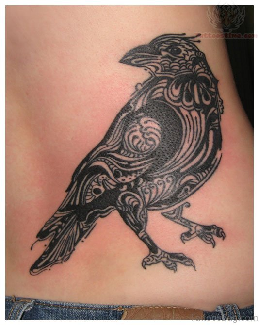Crow Tattoo On Rib