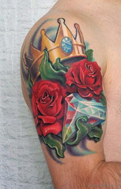 Crown And Rose Tattoo On Shoulder