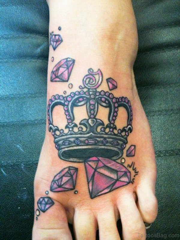 Crown Diamond Foot Tattoo