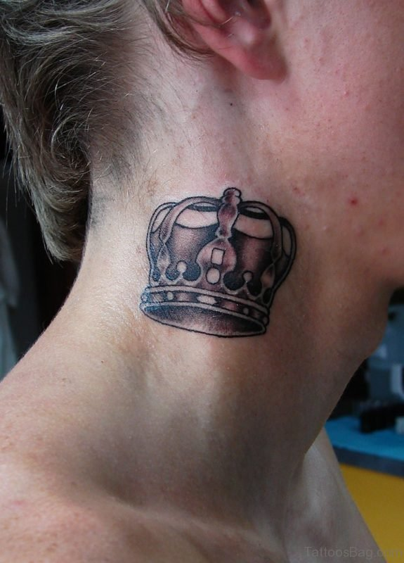 Crown Tattoo Design On Neck