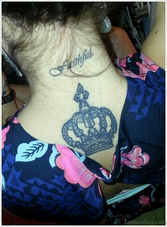 Crown Tattoo On Below Back Of Neck
