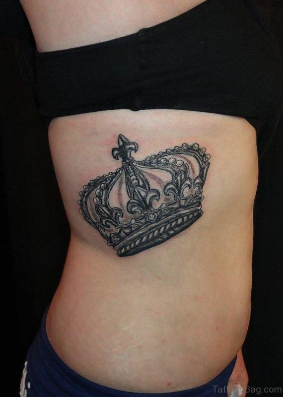 Crown Tattoo On Rib