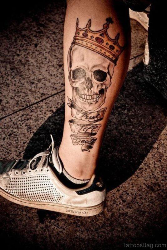 Crowned Skull Tattoo On Leg