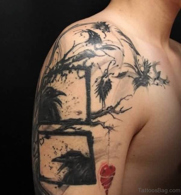 Crows On Tree Tattoo