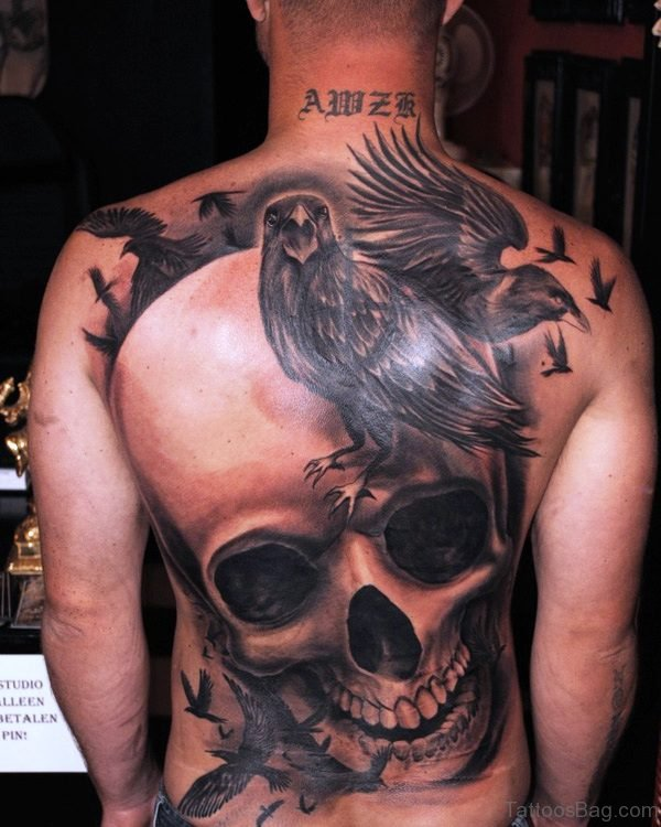 Crows With Skull Tattoo On Back