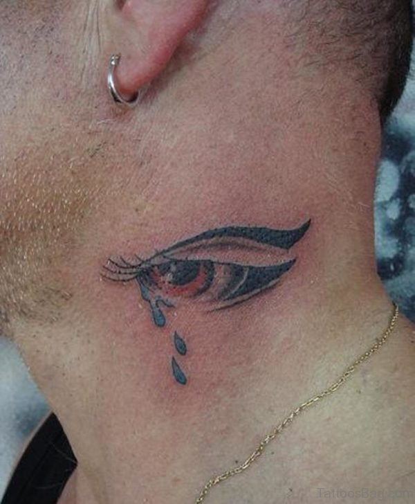 Crying Eye Tattoo On Neck