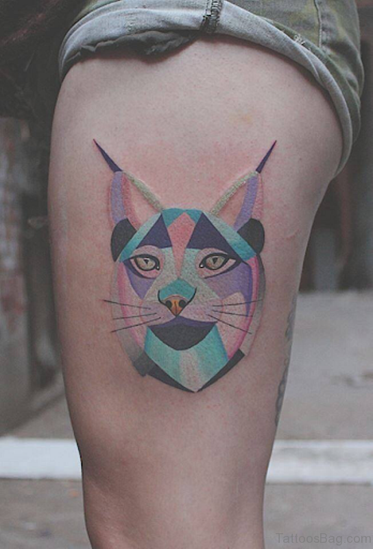 Crystle Cat Tattoo On Thigh