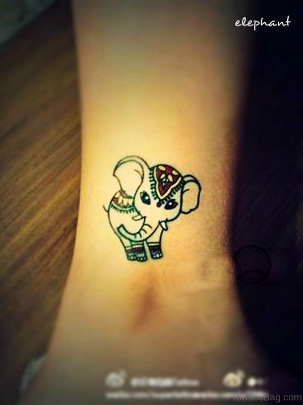 Cute Baby Elephant Tattoo On Leg