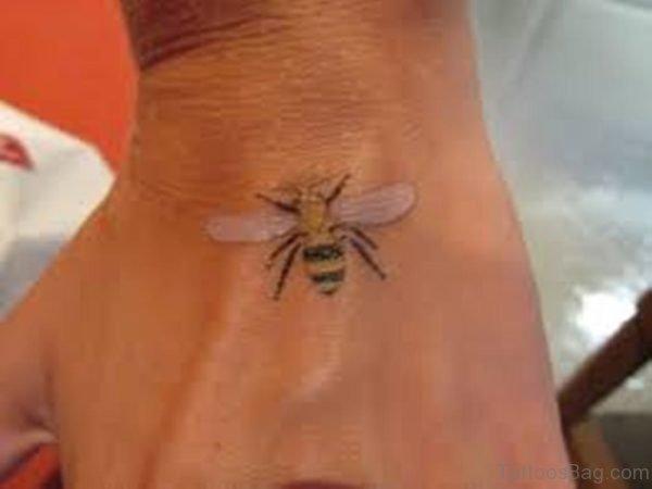 Cute Bee Tattoo On HAnd
